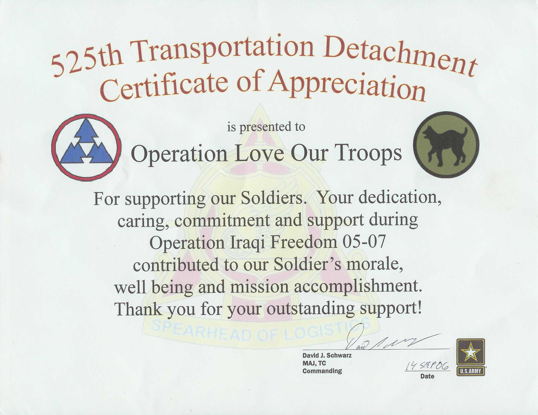 Thank you notes 525th transportation detachement certificate of appreciation yadclub Gallery