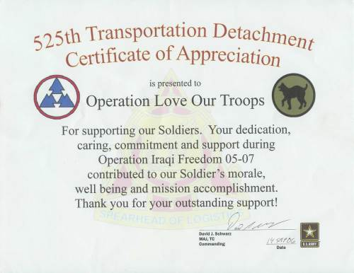 525th Transportation Detachement Certificate of Appreciation