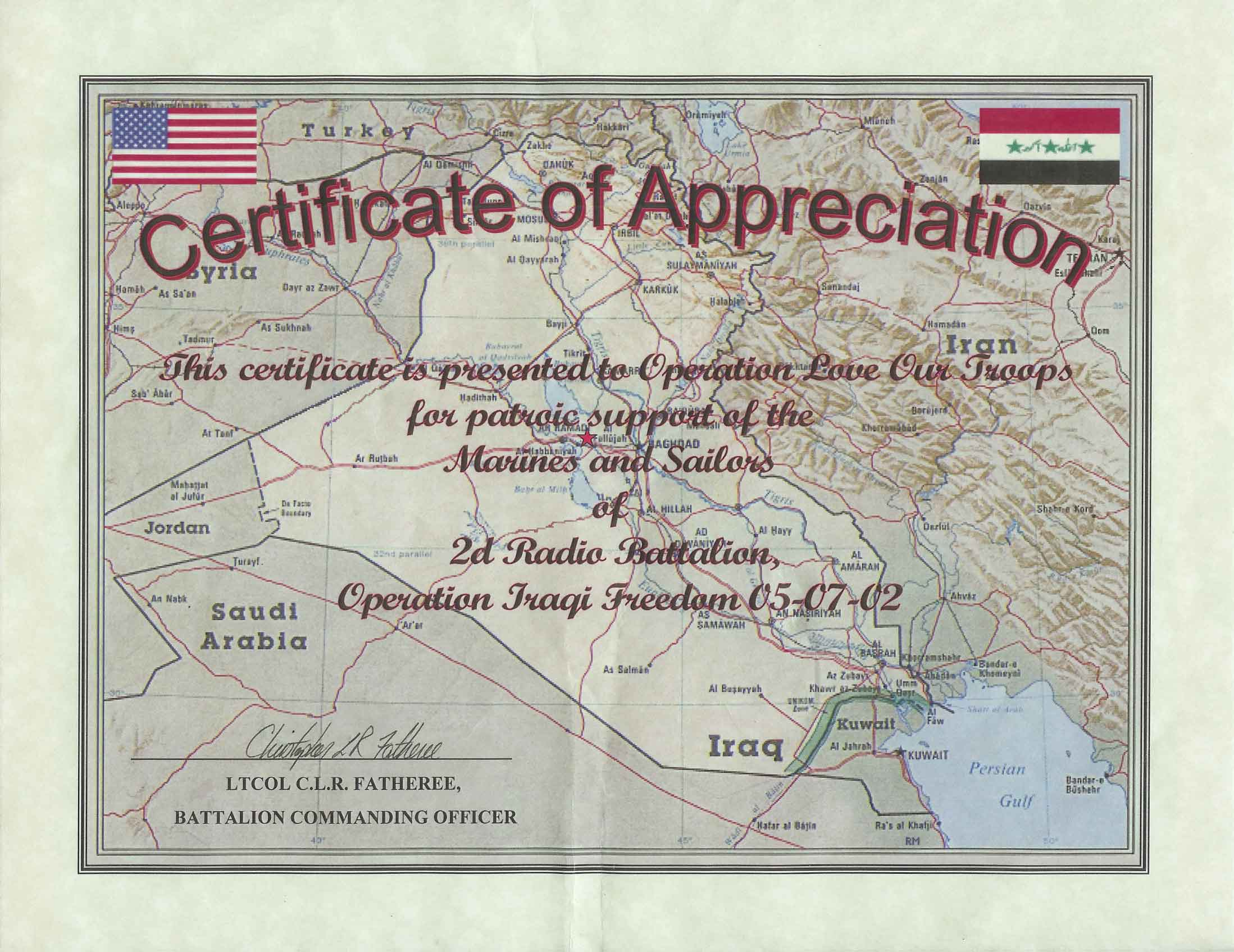 Certificate of Appreciation from the 2d Radio Battalion |