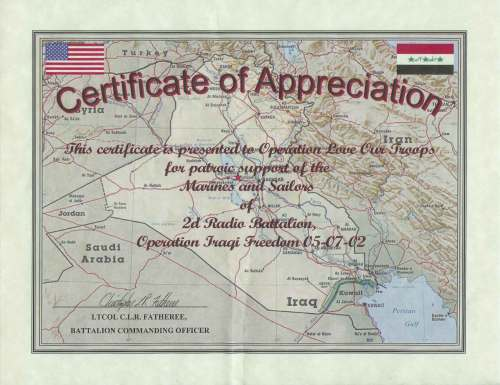 Certificate of Appreciation from the 2d Radio Battalion